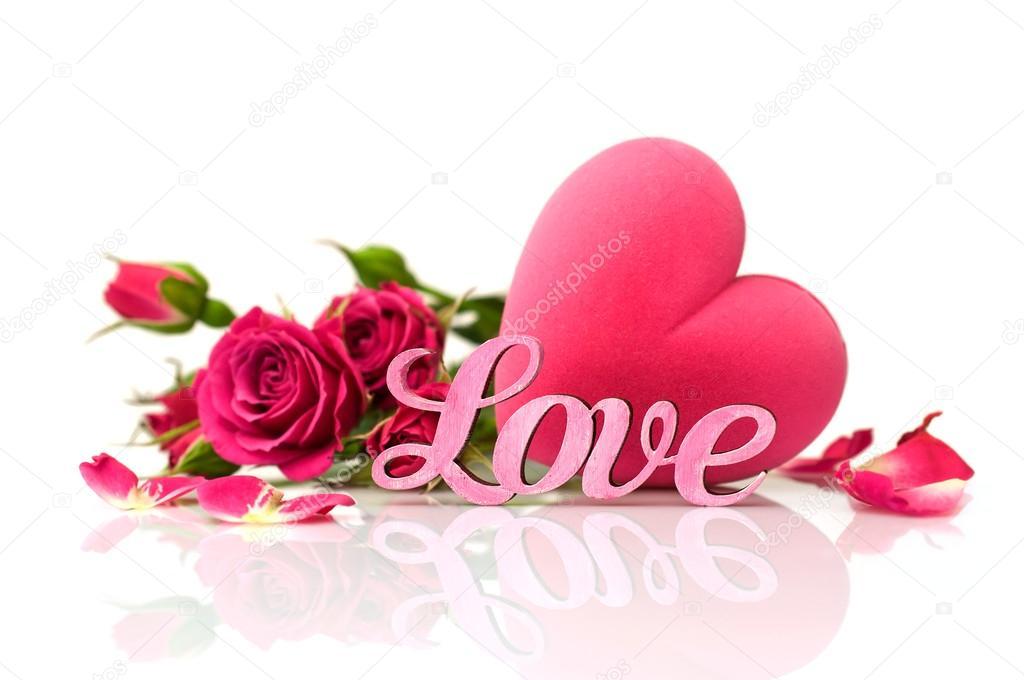 Imágenes de corazones que digan love Palabra rosa \
