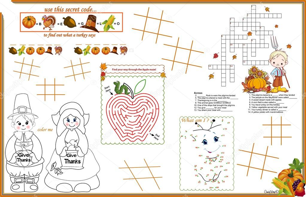 Placemat Thanksgiving Printable Activity Sheet 2 \u2014 Stock Vector
