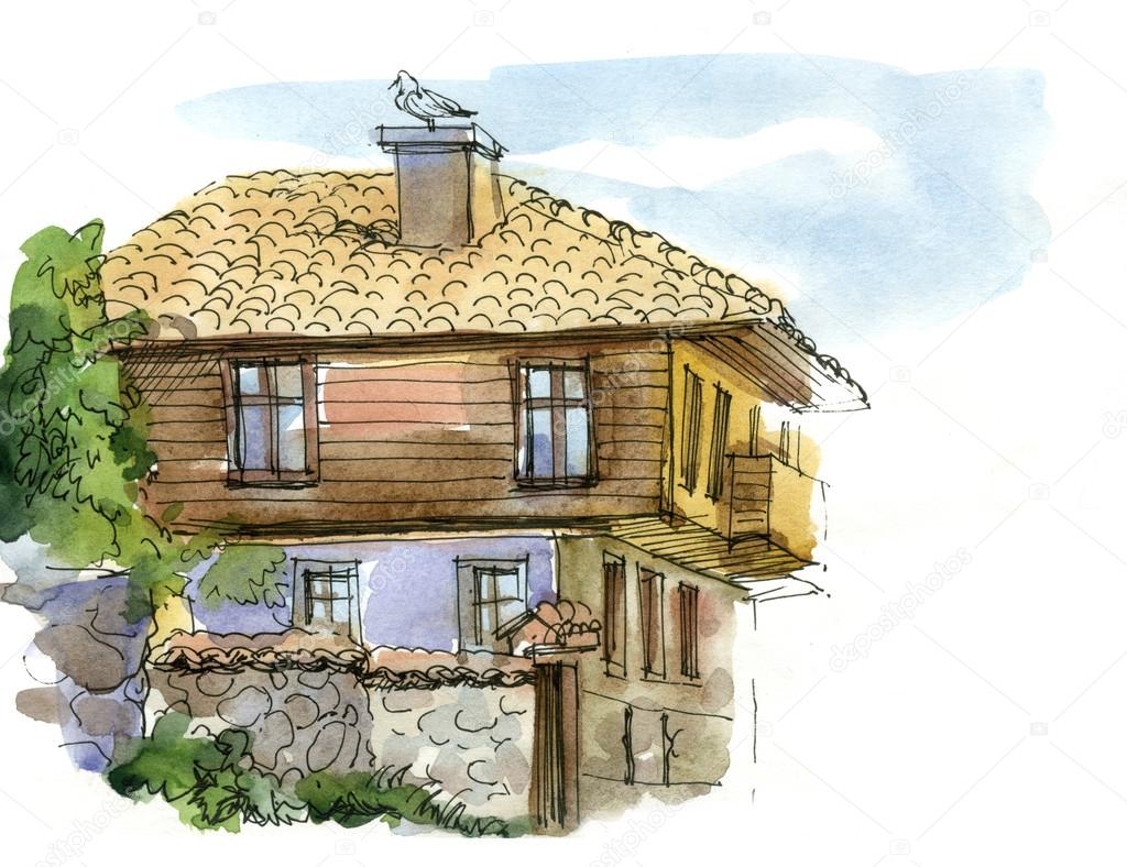Cottage Haus Watercolor Landscape With Haus Stock Photo Vetryanaya O 54568725