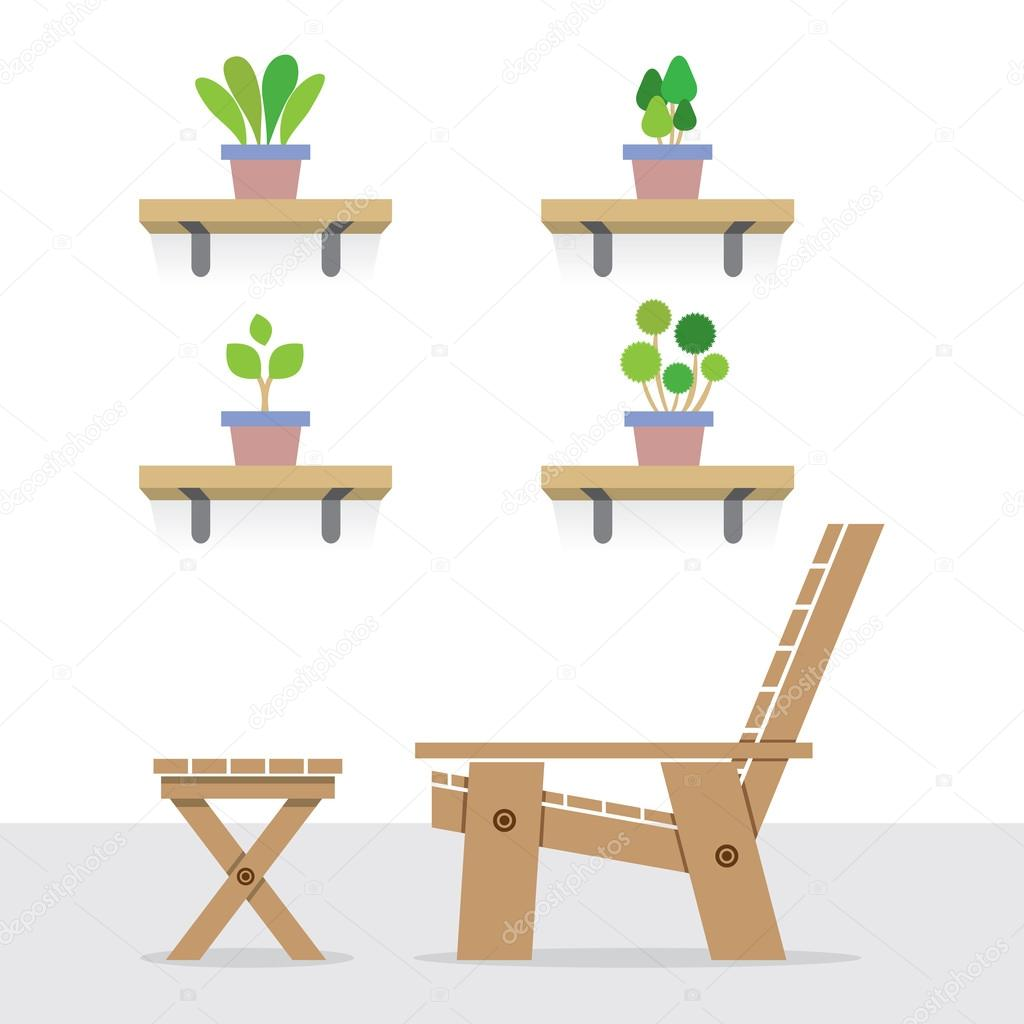 Holzgartenstuhl Pot Plants On Shelves With Side View Of Wooden Garden Chair And