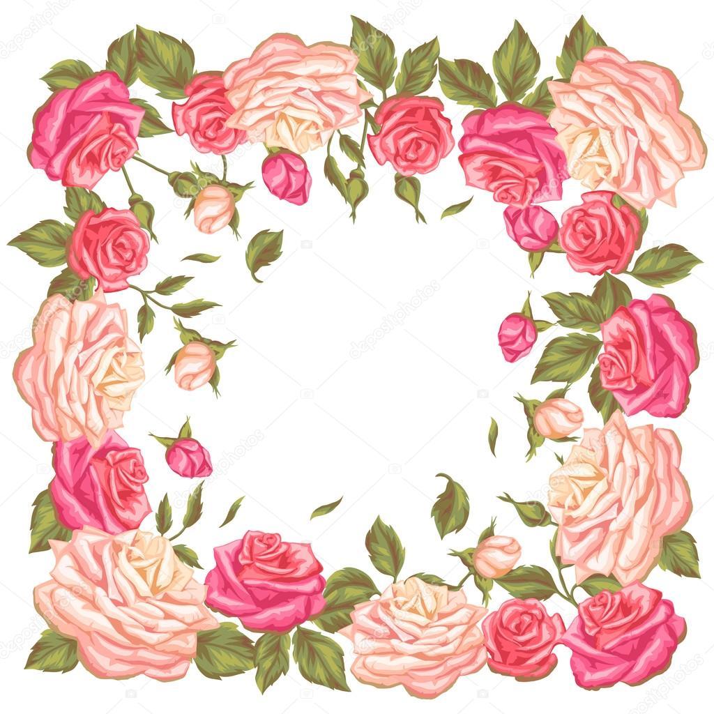 Marco Con Rosas Vintage Decorativos Flores Retros Imagen Auto Emg H4a Wiring Diagram