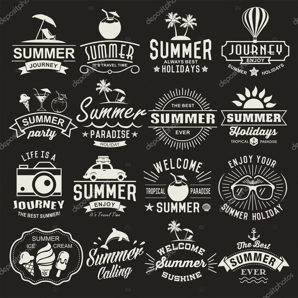 Vintage Design Summer Logotypes Set Summer Typography Designs Vintage