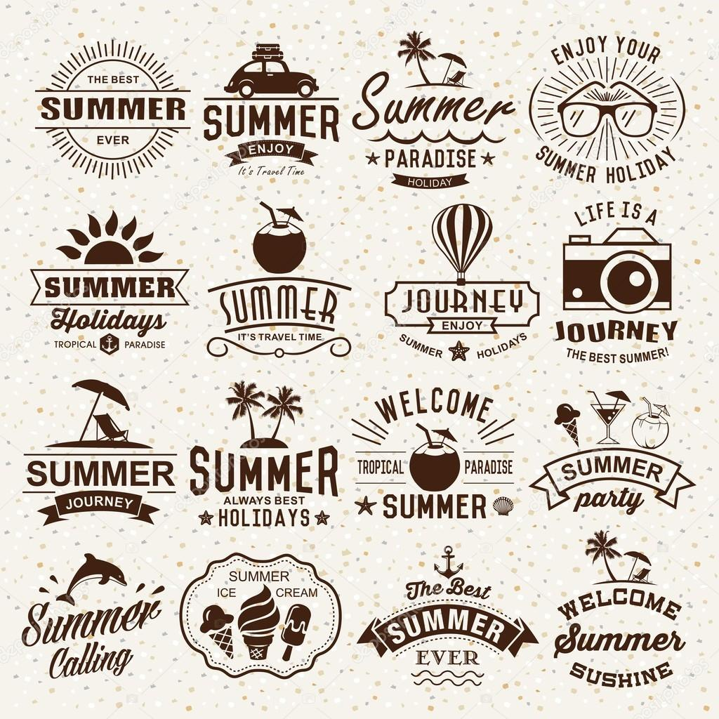Vintage Design Summer Typography Designs Summer Logotypes Set Vintage