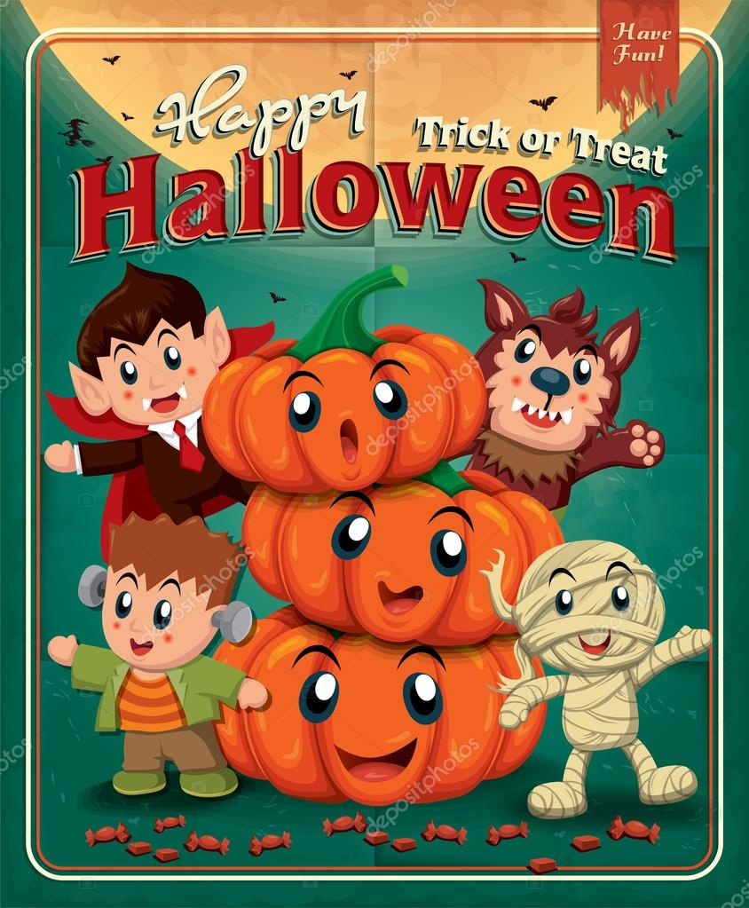 Poster Kinder Vintage Halloween Poster Design With Kids In Costume Stock