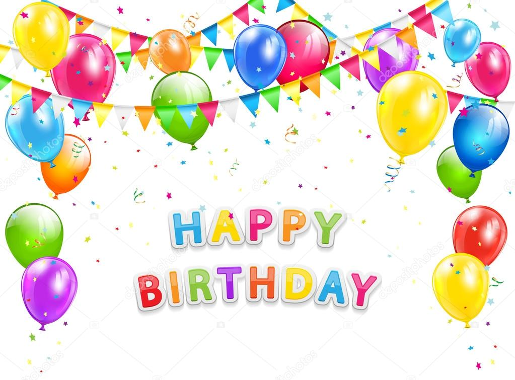 Happy Birthday background with balloons and pennants on white - birthday backround