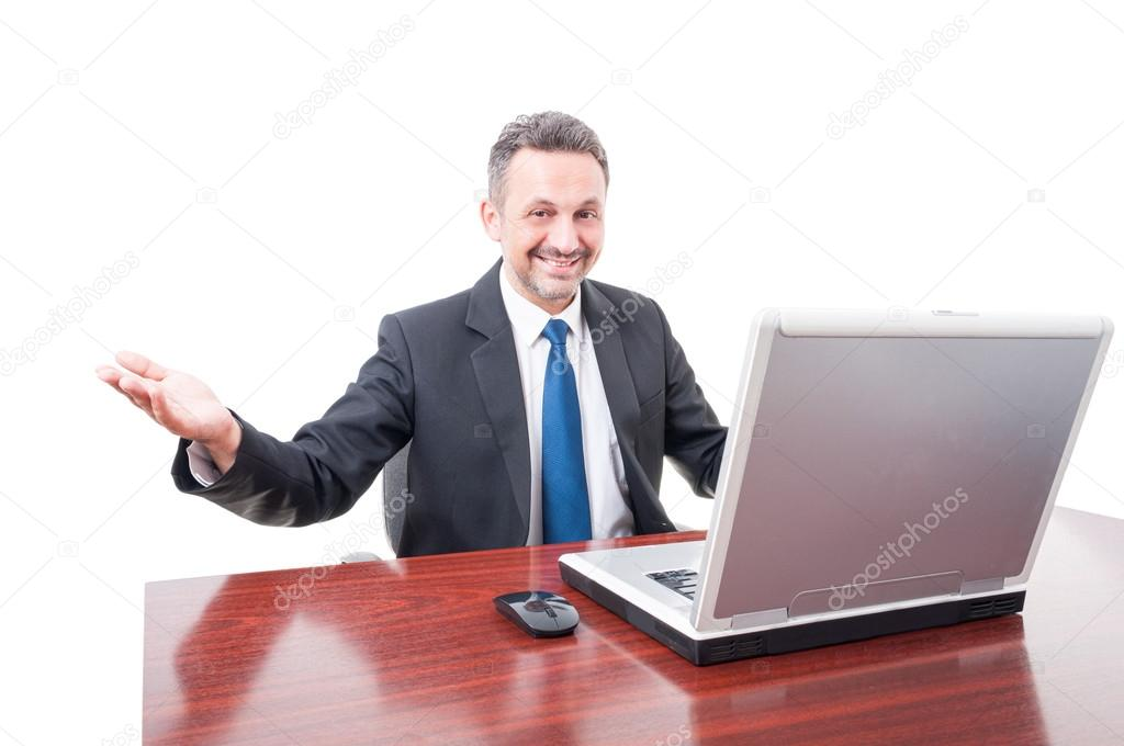 Successful executive manager doing welcoming gesture \u2014 Stock Photo