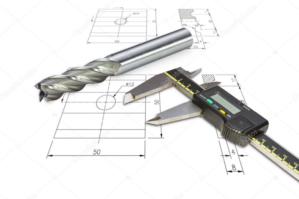Digital vernier calipers and end mill cutter \u2014 Stock Photo © teptong