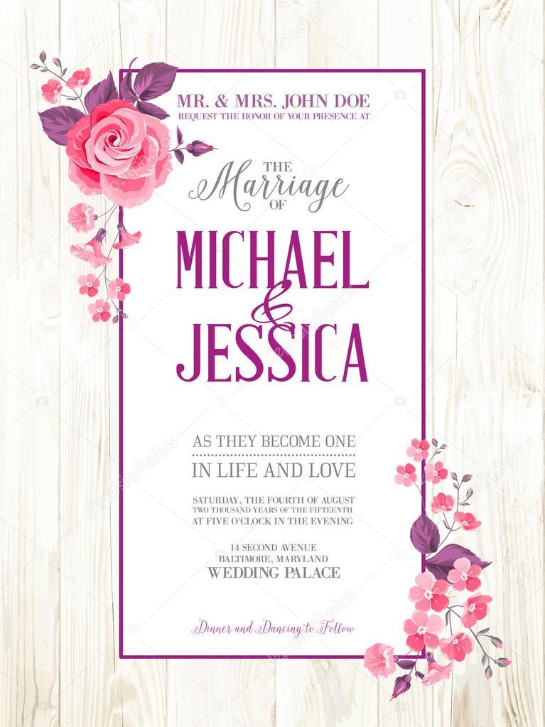 Vector invitación de boda para imprimir Invitación de matrimonio