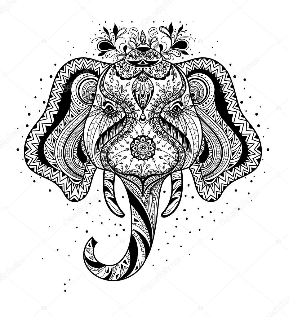 Zentangle Elefant Vorlage Zentangle Stil Monochrome Skizze Elefant Stockvektor