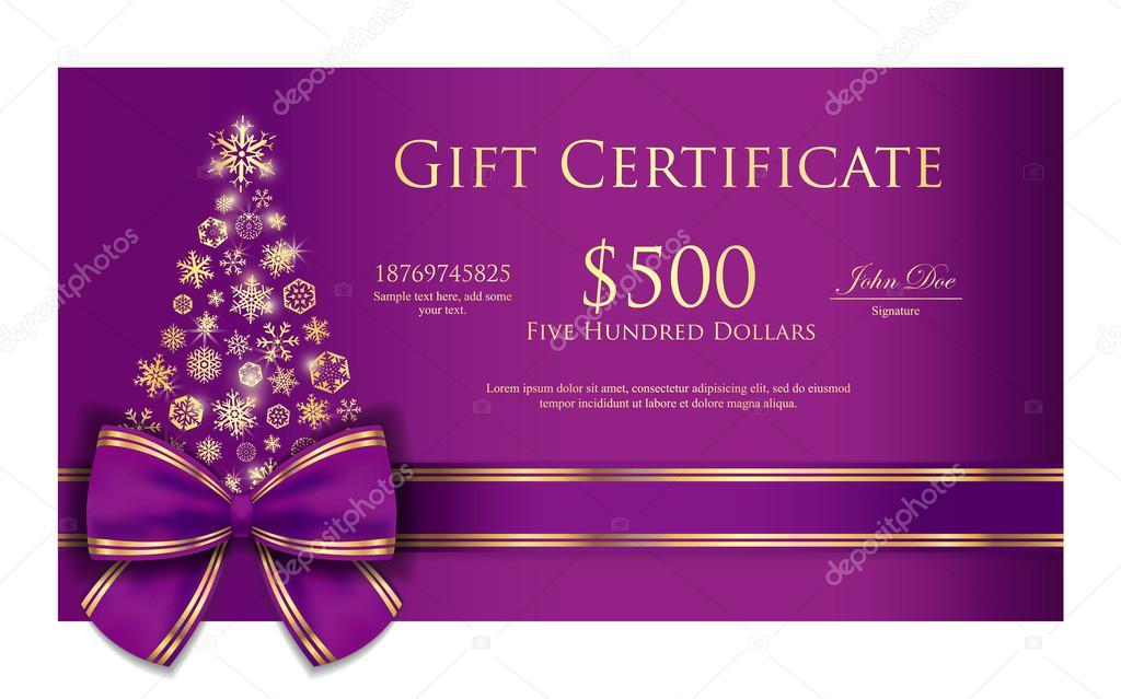 Certificado de regalo de Navidad exclusivo con la cinta púrpura y