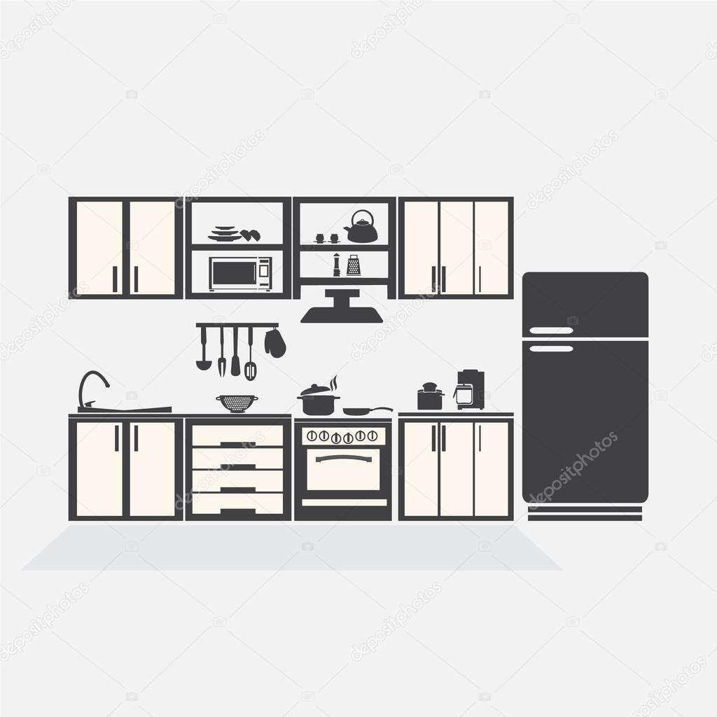 Symbolik Küche Kitchen Interior Concept Kitchen Symbol Vector