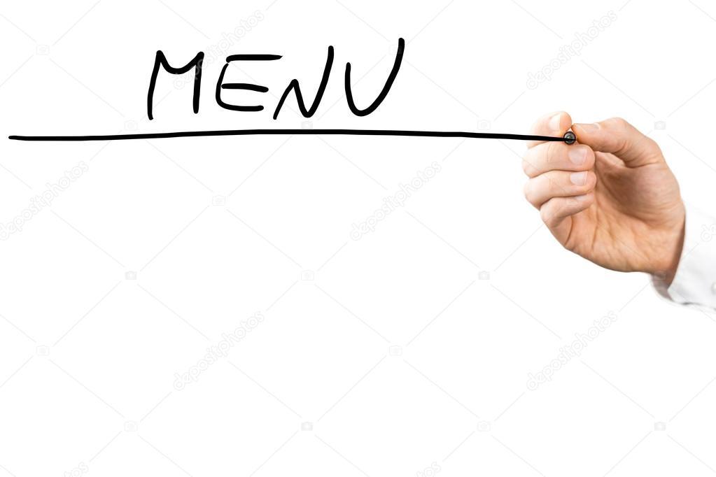 Man writing the word - Menu on a virtual screen \u2014 Stock Photo