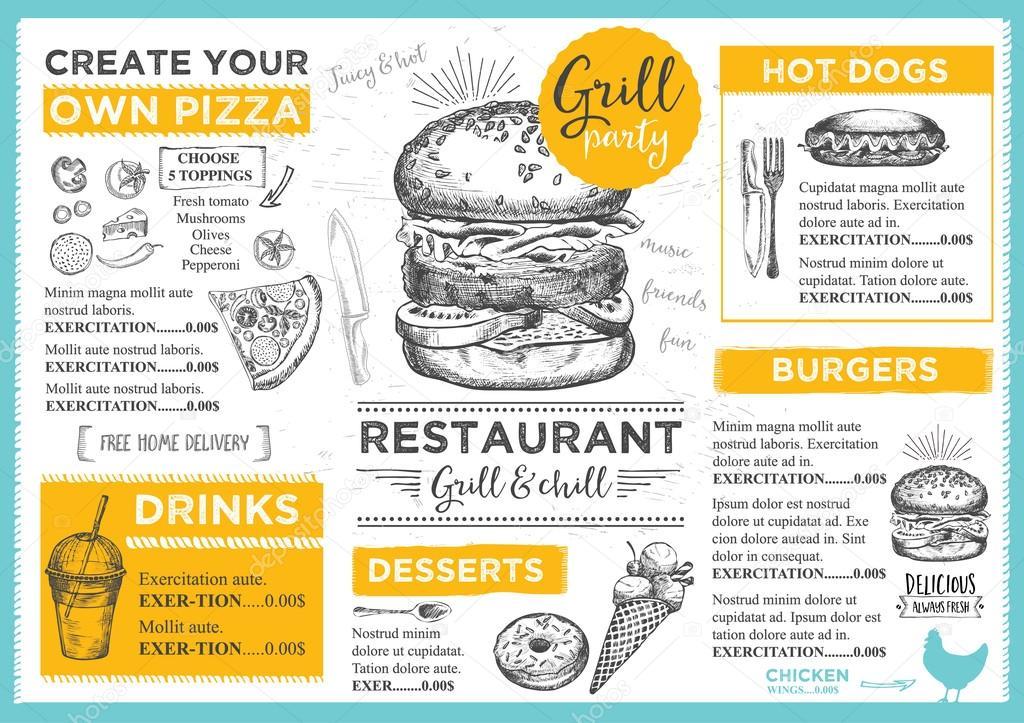 Restaurant menu brochure template \u2014 Stock Vector © Marchi #108544240