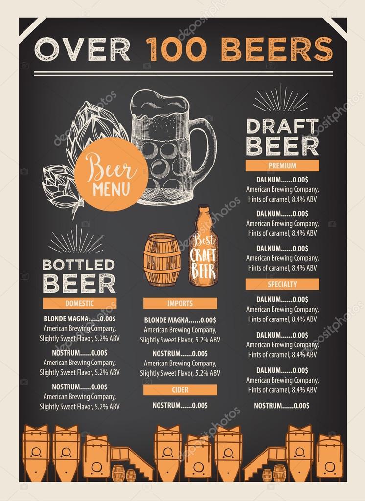 Beer restaurant brochure template \u2014 Stock Vector © Marchi #108544274