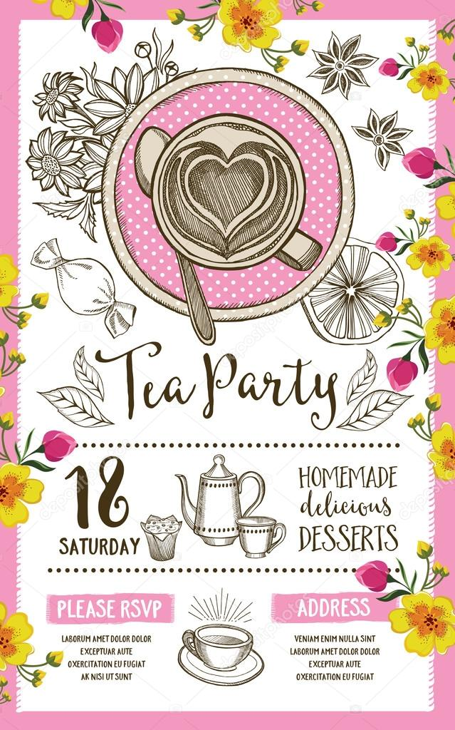 Tea party invitation, template design \u2014 Stock Vector © Marchi