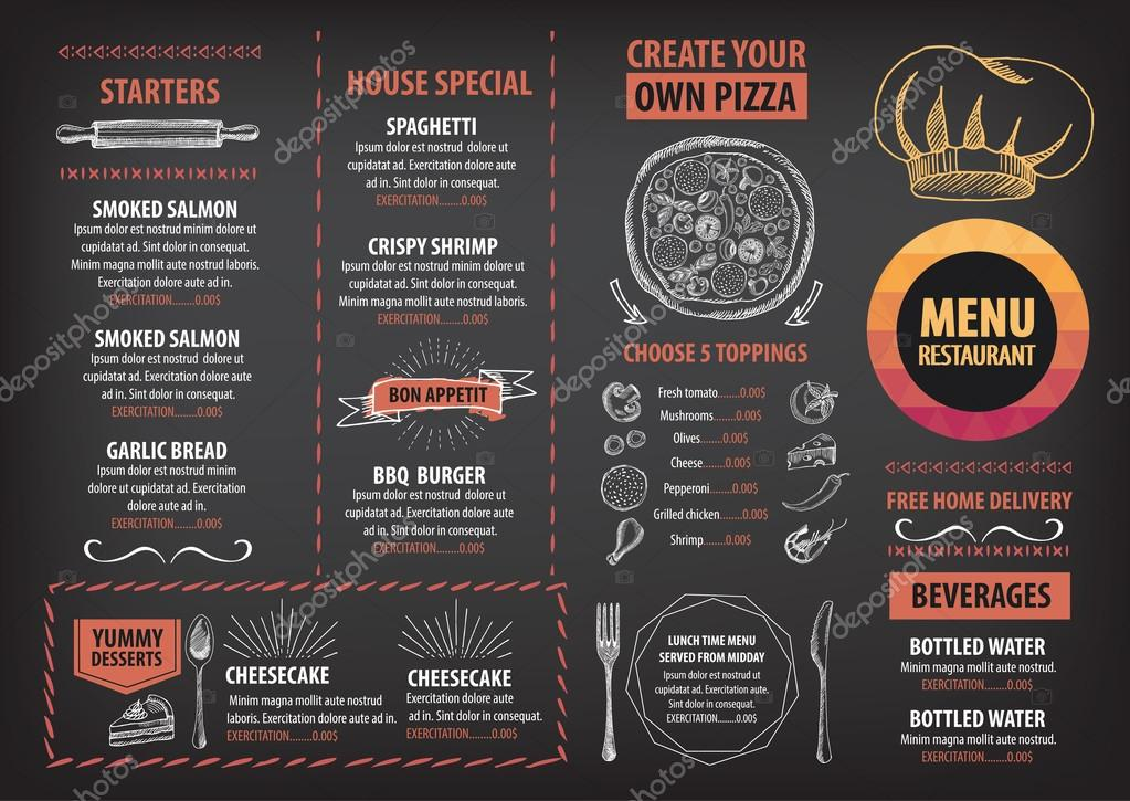 Restaurant cafe menu, template design \u2014 Stock Vector © Marchi #88810204 - Cafe Menu Template