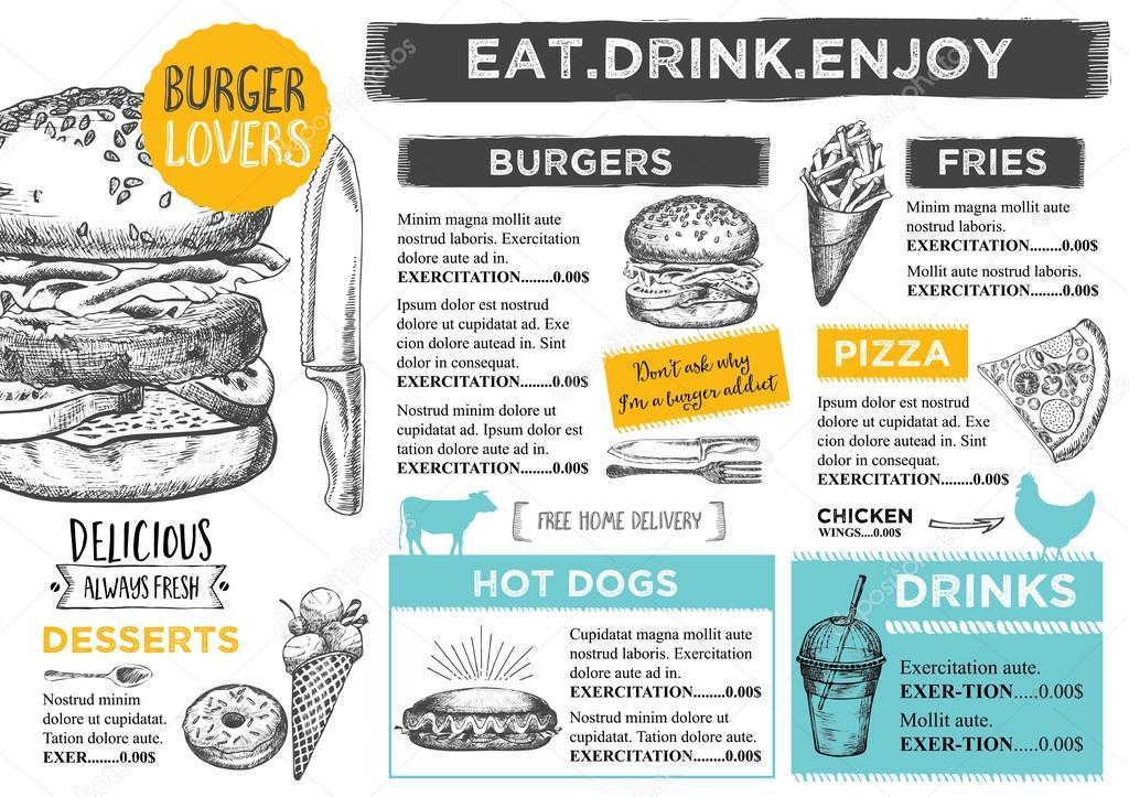 Restaurant cafe menu, template design \u2014 Stock Vector © Marchi #99539094 - Cafe Menu Template
