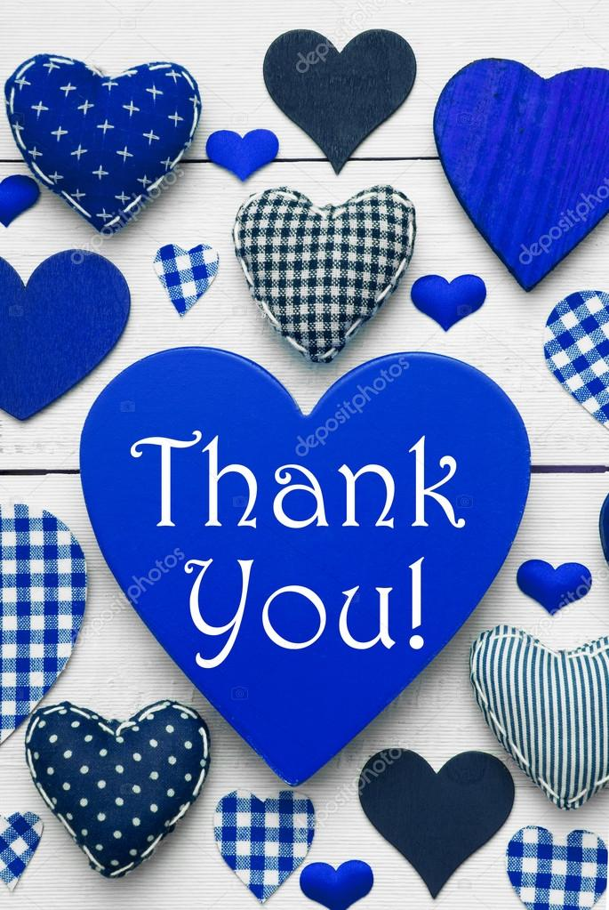 Vertical Card With Blue Heart Texture, Thank You \u2014 Stock Photo