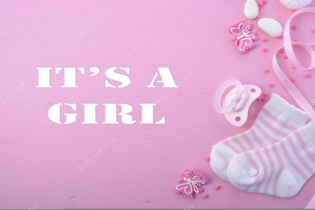 Baby Girl Nursery Wallpaper Borders Pink Baby Shower Nursery Background Stock Photo