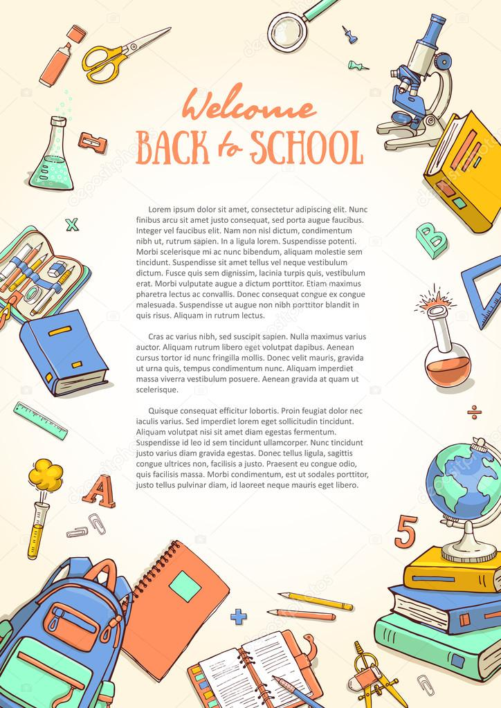 Template with school supplies for brochures, folder, flyers, banners
