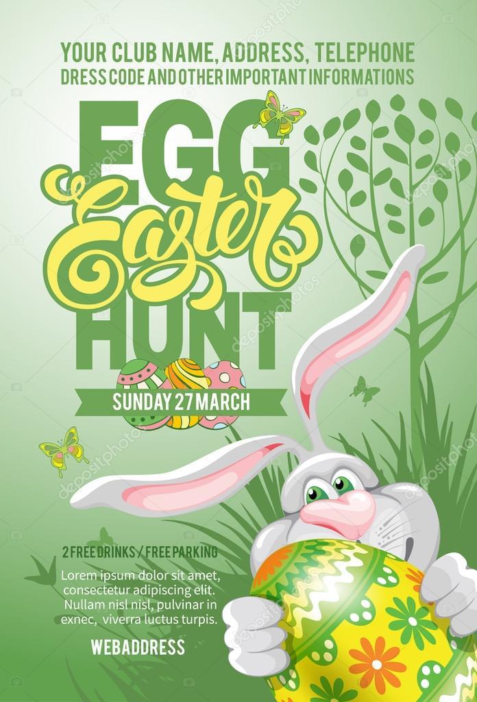 Easter Egg Hunt Flyer Template \u2014 Stock Vector © Pazhyna #101002178 - easter flyer template