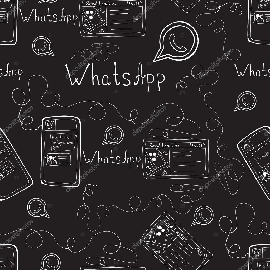 Download Black Wallpaper For Android Vector Doodle Seamless Pattern With Whatsapp And