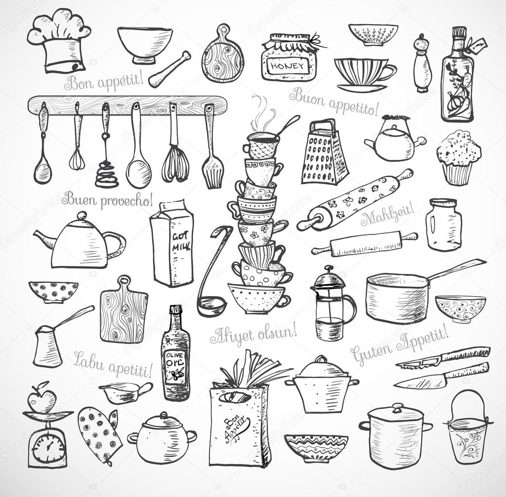Bilder Küchenutensilien Kitchen Sketch Utensils Stock Vector Elinacious 72133741