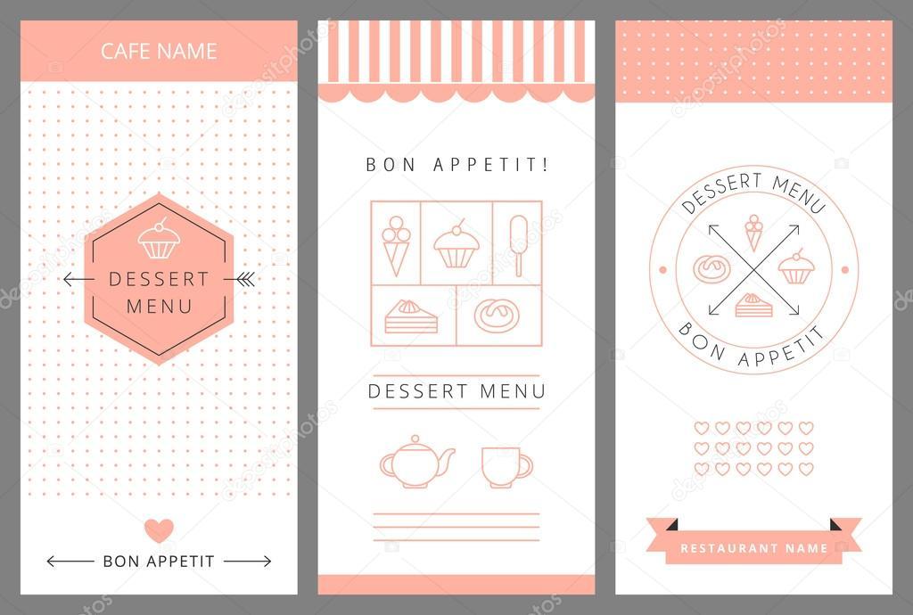 Dessert Menu Card Design template \u2014 Stock Vector © Baksiabat #58139679 - menu design template