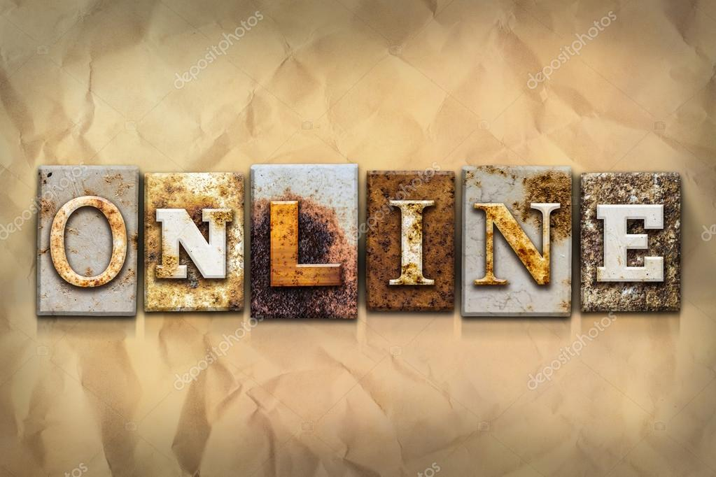 Online Concept Rusted Metal Type \u2014 Stock Photo © enterlinedesign