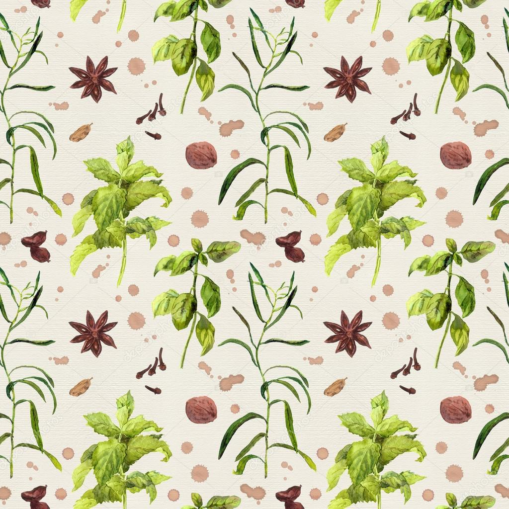 Herbal Wallpaper Species And Herbal Plants For Kitchen Repeated Watercolor