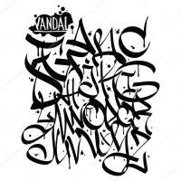 Lettere di alfabeto di graffiti font. Disegno dei graffiti ...