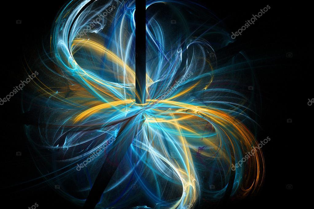 Gold 3d Hd Wallpapers 抽象的黑色、 蓝色和金色的分形。分形艺术背景的创意设计。壁纸桌面装饰 图库照片 169 Marsan#123407924
