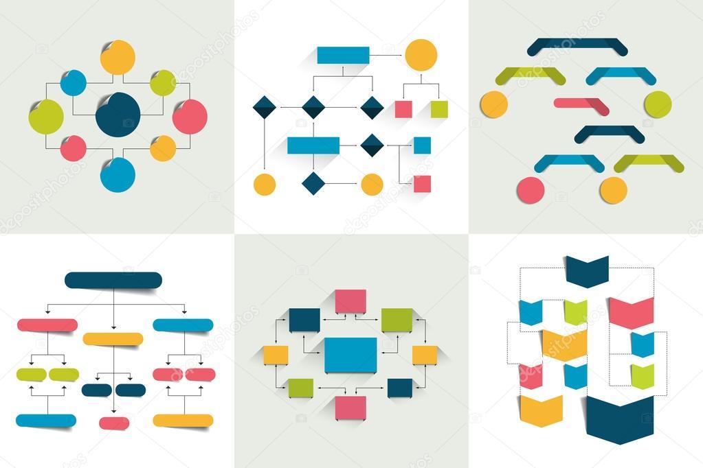 Diagrammi di flusso Set di 6 schemi di diagrammi di flusso