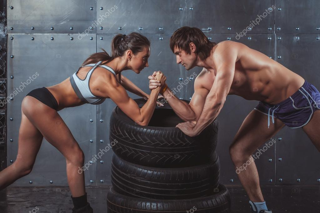 Boy And Girl Friendship Wallpaper Download Athlete Muscular Sportsmen Man And Woman With Hands