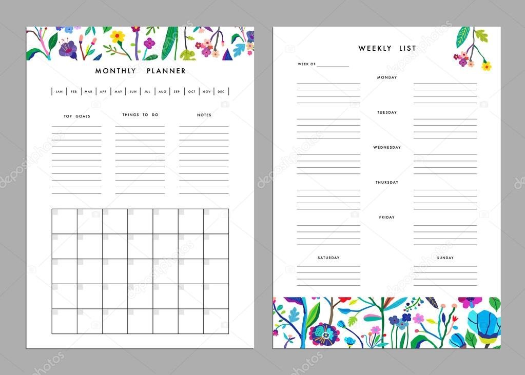 Monthly Planner plus Weekly List Templates \u2014 Stock Vector © leepoo - weekly to do list template