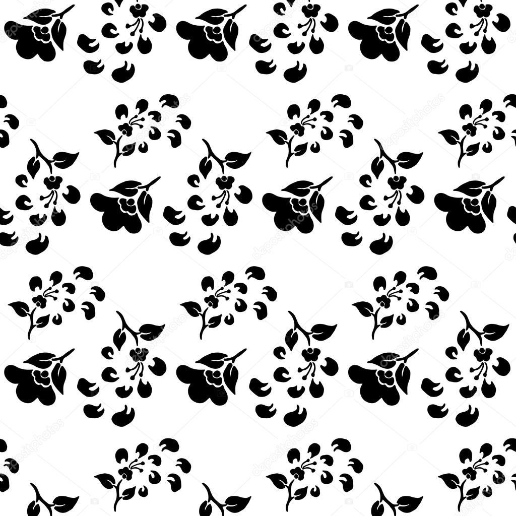 Free Falling Leaves Live Wallpaper Black And White Seamless Pattern Of Flowers And Falling