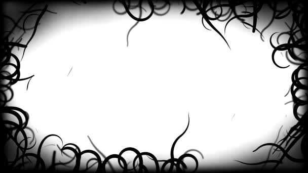 Black Vines Border Background Animation - Loop White