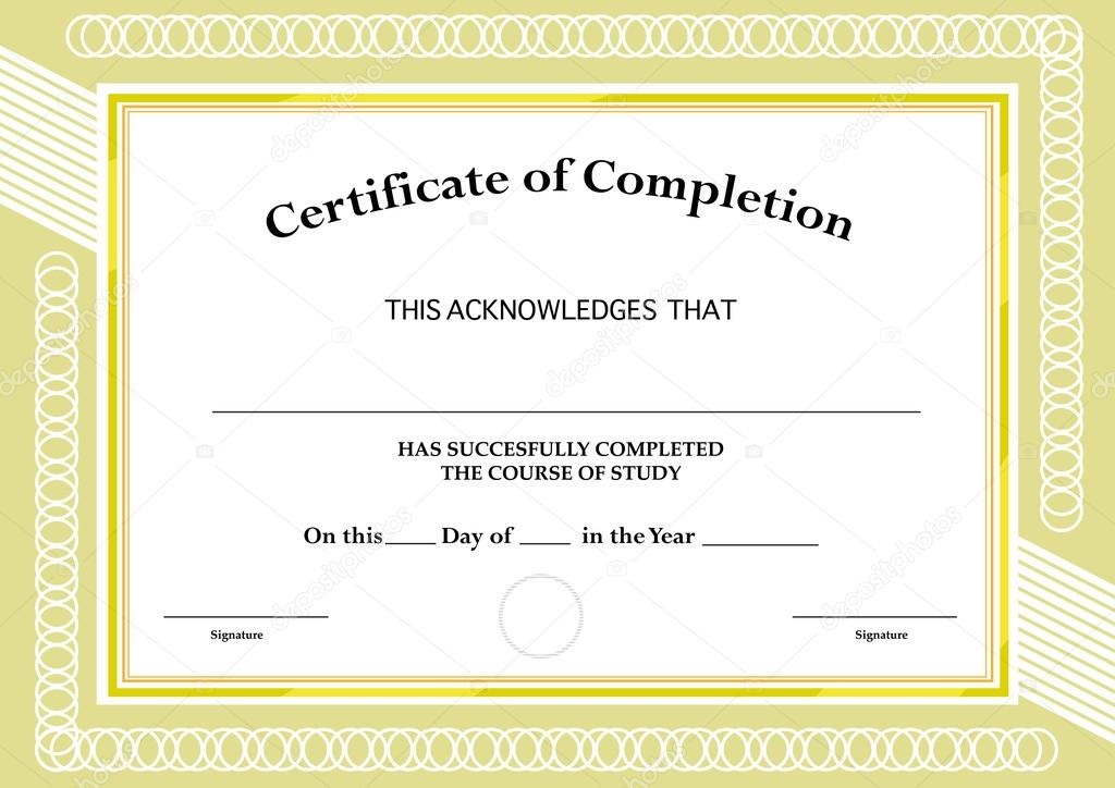 Certificate of Completion Classic Frame and Visual Design Editable