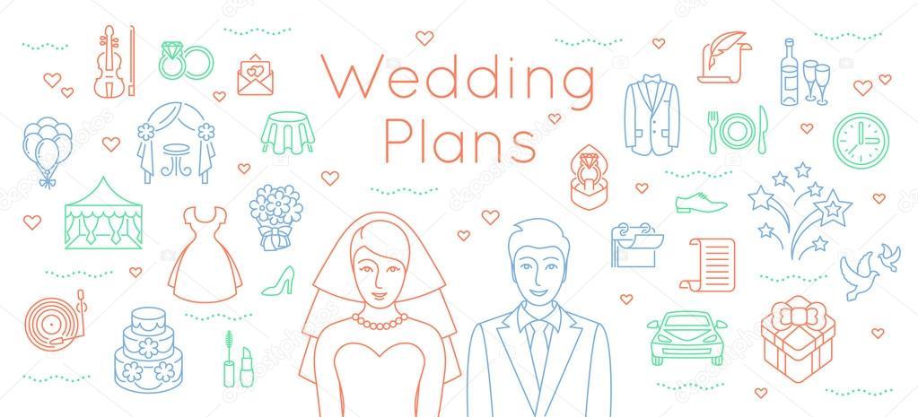 Wedding plans thin line flat background \u2014 Stock Vector © vectorikart