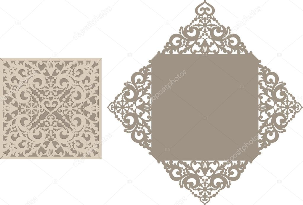 Laser cut envelope template for invitation wedding card \u2014 Stock