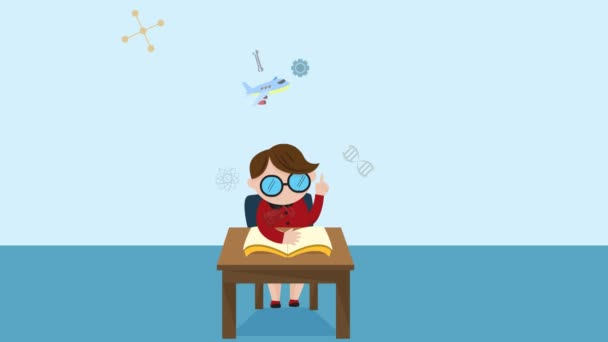 Cartoon animation of a boy child student is reading education book