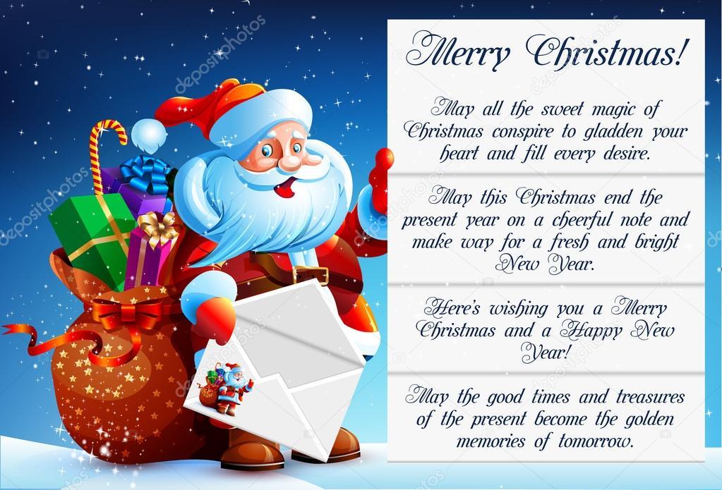 Santa Claus reads a letter \u2014 Stock Vector © MarynaBolsunova #95136528
