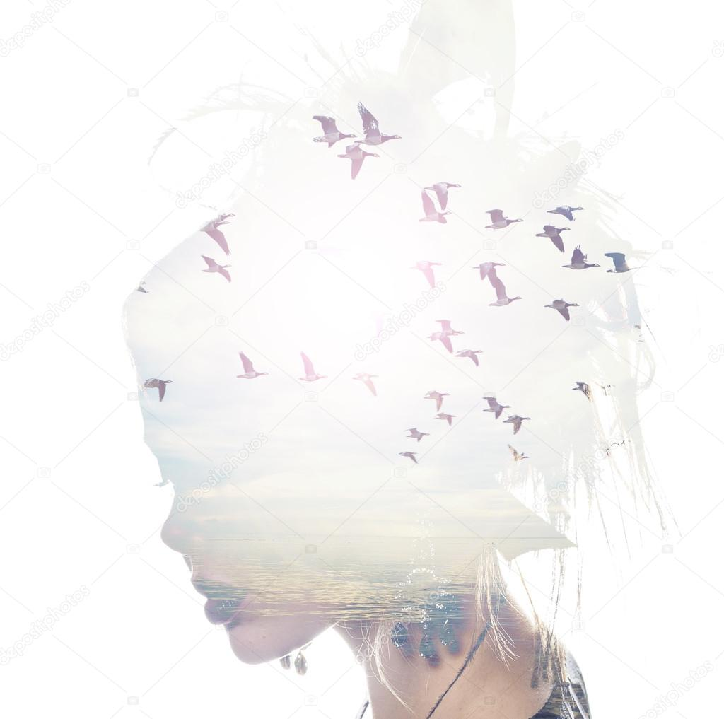Freedom Bed Head Womans Head And Birds Flying Double Exposure Freedom And Liberty