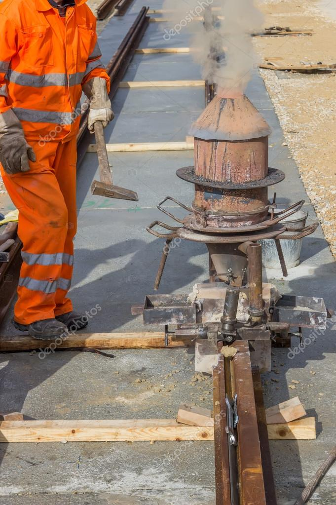 Thermite welding, installation of tram tracks 2 \u2014 Stock Photo - thermite welding