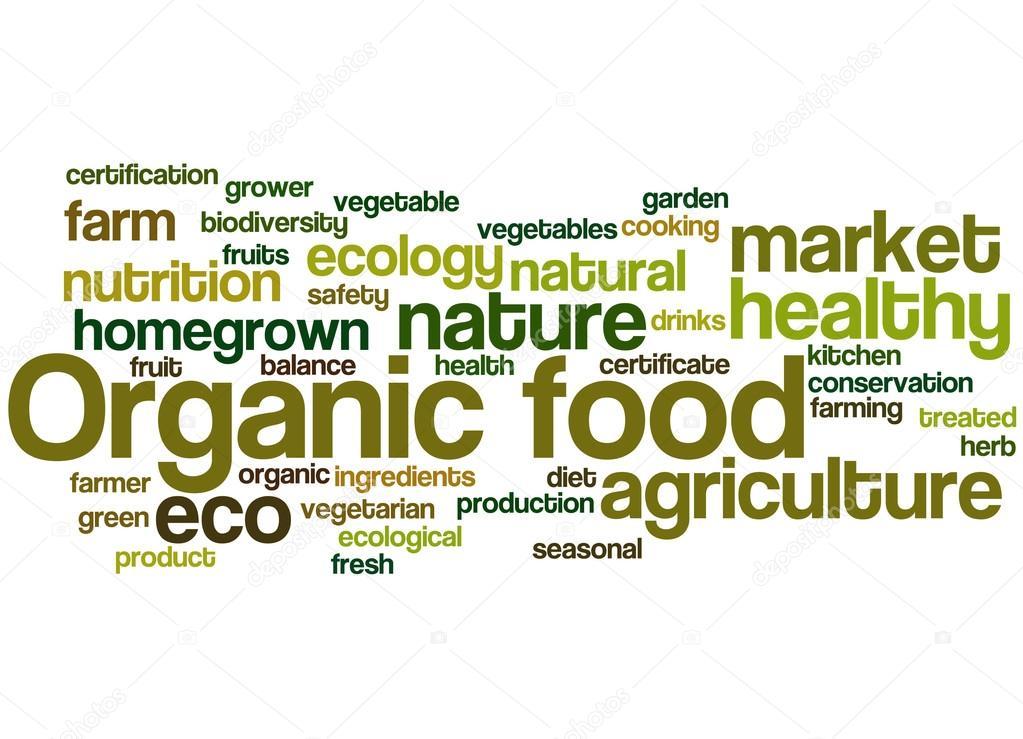 Fondos ecologicos para word Alimentos ecológicos, concepto de nube