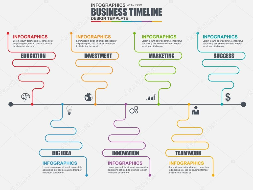Infographic linear timeline vector design template Can be used for - business timeline template