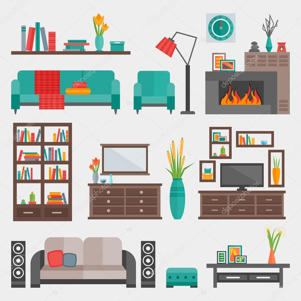 Interieur Icon Platte Meubelen Interieur Icon Set Stockvector Mogil 116411030
