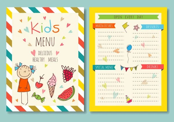 Colorful kids meal menu vector template \u2014 Stock Vector