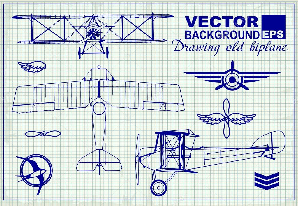 Vintage airplanes drawing on graph paper \u2014 Stock Vector © PGMart