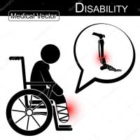 Vector Stick man with leg fracture on wheelchair and text ...